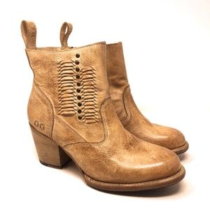 BED STU Tan Cobbler Collection Western Ankle Boots